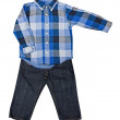 Blue plaid shirt with a long sleeve and jeans — Stock Photo #28874193