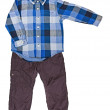 Blue plaid shirt with a long sleeve and trousers — Stock Photo #28874253