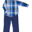 Blue plaid shirt with a long sleeve and blue velveteen trousers — Stock Photo #28874331