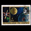 Stock Photo: Stamp printed in Republique de Guinee shows anniversaire de nicolas copernic