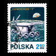 A stamp printed in Poland shows Lunochod-1 — Stock Photo
