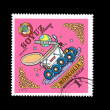 A stamp printed by Mongolia shows Soyuz Lunakhod 1 — Stock Photo