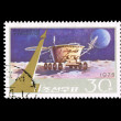 A stamp printed in DPR KOREA shows space satellite — Stock Photo
