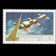 A stamp printed in DPR KOREA shows space satellite — Stock Photo #28877691