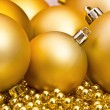 Golden Christmas spheres — Foto Stock