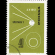 A stamp printed in Poland shows sputnik 1 desselberger — Stockfoto