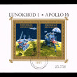 Stock Photo: Stamp printed by Mongolishows Lunokhod 1 Apollo 14