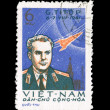A stamp printed in VIETNAM shows G.Titov 6.7.VIII.1961, series — Stock Photo