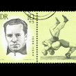 "A Stamp printed in GDR (East Germany) shows wrestler Werner Seelenbinder, with the inscription ""Werner Seelenbinder (1904-1944)"" from the series ""Sport"" — Stock Photo #28879389"