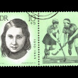 A Stamp printed in GDR (East Germany) shows hockey player Kate Tucholla with the inscription Kate Tucholla (1910-1943) from the series Sport — Stock Photo