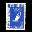 A stamp printed in Romania shows the water polo on Melbourne Olympics — Stock Photo #28879529