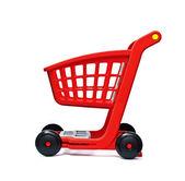 De lege rode kar voor aankopen — Stockfoto