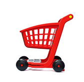 The empty red cart for purchases — Stock Photo