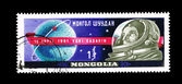 A stamp printed by Mongolia shows 12 april 1961 Yuri Gagarin — Stock Photo