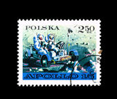 Stamp printed in Poland shows Apollo 15 — Stock Photo