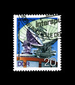 A stamp printed in Germany, shows intersputnik — Fotografia Stock