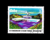"A stamp printed in Cuba shows inauguracion estacion terrena ""intersputnik"" — Stock Photo"