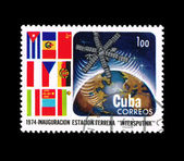 "Stamp printed in Cuba shows inauguracion estacion terrena ""intersputnik"" — Stock Photo"