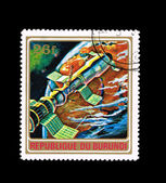 Stamp printed in the Burundi shows spaceship — Stock Photo