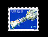 A stamp printed in Poland shows Apollo Sojuz — Stock Photo
