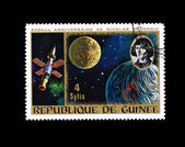 A stamp printed in Republique de Guinee shows anniversaire de nicolas copernic — Stock Photo