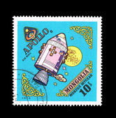 A stamp printed by Mongolia shows Apollo 8 — Stock Photo