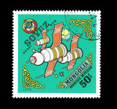 A stamp printed by Mongolia shows Soyuz 6-7-8 — Stock Photo