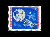 A stamp printed by BULGARIA shows Aleksey Leonov Souz-Apolo-15-7-1975 — Stock Photo