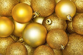 Golden Christmas spheres — Stock Photo
