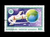 A stamp printed by Mongolia shows Souz Apollo — Stock Photo