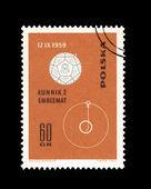 Polonya'da basılmış pul lunnik 2 emblemat desselberger gösterir — Stok fotoğraf