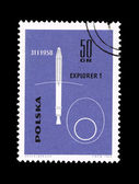 A stamp printed in Poland shows explorer 1 desselberger — Stock Photo