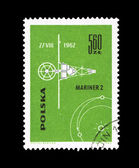 A stamp printed in Poland shows Mariner 2 — Stock Photo