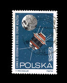 A stamp printed in Poland shows Lunnik III fotografie drugiej strony ksiezyca, T.Michaluk — Stock Photo