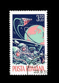 A stamp printed in Romania shows Gemini 3 — Stock Photo