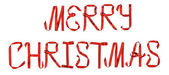 Merry Christmas from red ribbon — Stock Photo