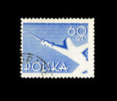 A stamp printed in Poland shows fencer — Stock Photo