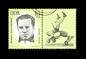 "A Stamp printed in GDR (East Germany) shows wrestler Werner Seelenbinder, with the inscription ""Werner Seelenbinder (1904-1944)"" from the series ""Sport"" — Stock Photo"