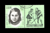 "A Stamp printed in GDR (East Germany) shows hockey player Kate Tucholla with the inscription ""Kate Tucholla (1910-1943)"" from the series ""Sport"" — Stock Photo"