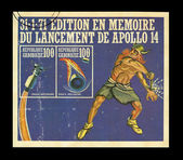 Tamp printed by Gabon, shows Edition en memoire du lancement de apollo 14 — Stock Photo