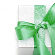White gift box with green bow — Stock Photo