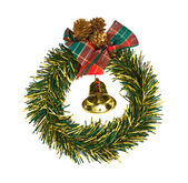 Christmas wreath with hand bell — Stock Photo