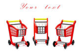 Empty red cart for purchases — Stock Photo