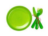 Bright plastic tableware — Stock Photo