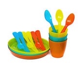 Bright plastic tableware — Stock Photo