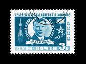 Briefkaart afgedrukt in de sovjet-unie toont de persoon van het land van raden in de ruimte — Stockfoto