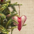 Fir-tree with cones and textile heart — Stock Photo