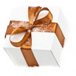 Decorative white gift box — Stock Photo