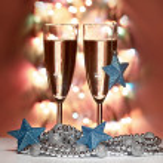 Christmas toys, wine glasses — Stock Photo