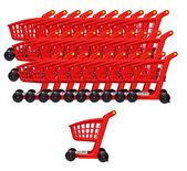 The empty red carts for purchases — Stock Photo